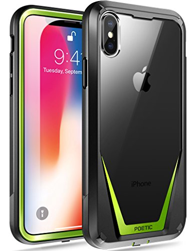 iPhone Xs Case, iPhone X Case, Poetic Guardian [Scratch Resistant Back] [Built-in-Screen Protector] Full-Body Rugged Hybrid Bumper Clear Case for Apple iPhone X (2017)/ iPhone Xs (2018) - Black/Green