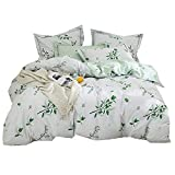 Fresh Summer Floral Twin Duvet Cover Set Cotton Reversible Girls Bedding Cover Set with Green Leaves Print Pattern 3 Piece Luxury Bedding Set with Zipper Closure and Corner Ties