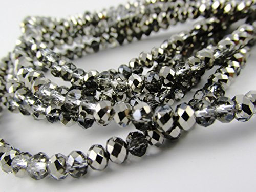BeadsOne 55pcs Glass Rondelle Faceted Beads 8mm Multi Smoky silver C31 Top Quality AAA