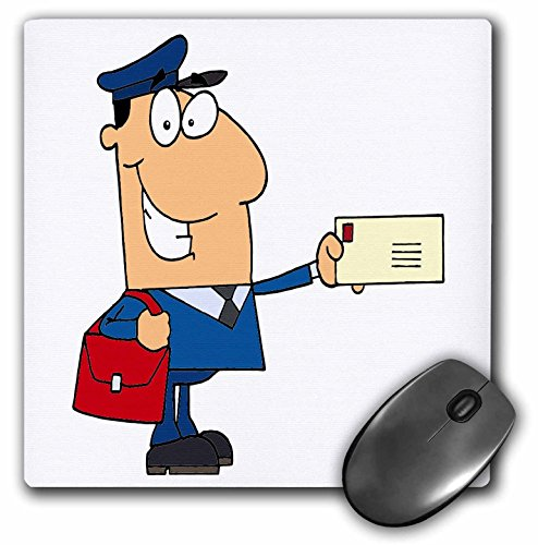 3Drose LLC 8 X 8 X 0.25 Inches Mouse Pad, Happy Mailman Postal Worker Delivering Letter (Mp_118752_1)