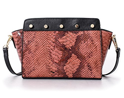La Poet Women's Snakeskin Embossed Genuine Leather Cross Body Bag Shoulder Handbag (Pink) (Snake Water Handbag)
