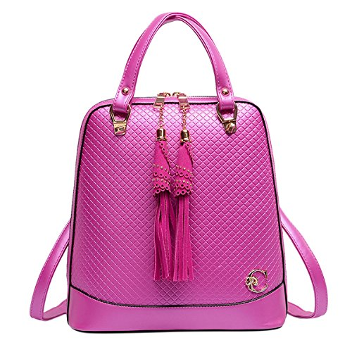 [ABage Women's Convertible Backpacks Casual Faux Leather Tassel Backpack Purse, Rose Red] (Patent Leather Backpack)