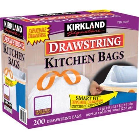 Kirkland Signature Drawstring Kitchen Trash Bags - 13 Gallon - 400 Count,Kirkland-fg