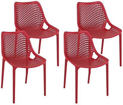 resol set de 4 sillas de diseño Grid para interior, exterior, jardín - color rojo: Amazon.es: Jardín