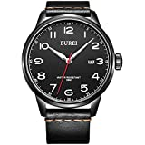 BUREI Unisex Quartz Wrist Watches with Date Arabic Numeral Analog and Leather Strap