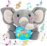 Aitbay Plush Elephant Music Baby Toys 0 3 6 9 12 Months, Cute Stuffed Aminal Light Up Baby Toys Newborn Baby M