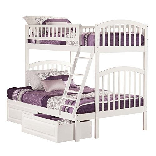 Arch Raised Panel - Atlantic Furniture AB64222 Ab64222 Richland Bunk Bed Twin Over Full with 2 Raised Panel Bed Drawers, Twin Over Full, White