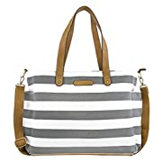 Gray Stripe Tote Bag by White Elm -The Aquila- Zipper Closure and 7 Pockets - Cotton Canvas & Vegan Leather