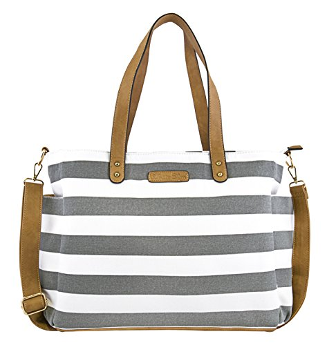 Gray Stripe Tote Bag by White Elm -The Aquila- Zipper Closure and 7 Pockets - Cotton Canvas & Vegan Leather (Tote Stripe White)
