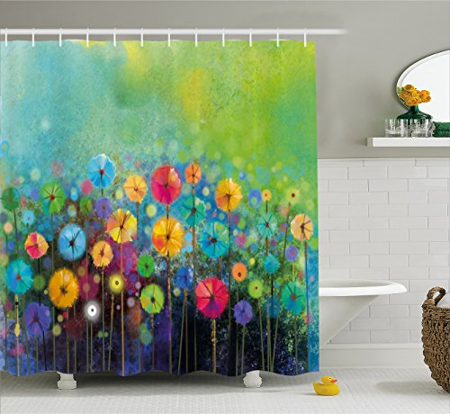 Ambesonne Watercolor Flower Home Decor Shower Curtain, Dandelions Featured Garden Made with Brushstrokes Toned Landscape, Fabric Bathroom Decor Set with Hooks, 75 Inches Long, Green Yellow