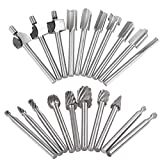 """Saipe 20pcs 1/8"""" Shank HSS Routing Router Bits Rotary Burr Set Wood Carving Drill Bits Set Multi-shape Rotary File Grinder Fit Dremel Foredom Rotary Tool Set DIY Woodworking, Carving, Engraving, Drilling"""