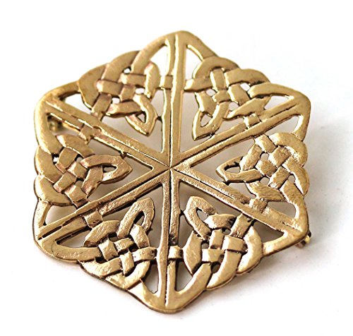 Brooch Ship Free Pin (LynnAround Bronze Filigree Celtic Triquetra Trinity Knot Hexagon Brooches Clothes Fasteners - Cloak Scarf Shawl Pin (Brooch V.1))