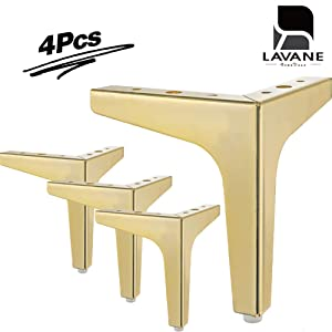 "7"" / 17.5cm Furniture Legs, La Vane Set of 4 Modern Metal Diamond Triangle Furniture Feet DIY Replacement Gold for Cabinet Cupboard Sofa Couch Chair Ottoman"