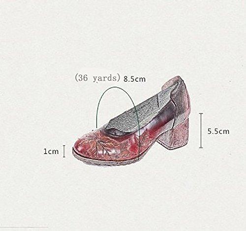 Piel Amarillo Personalidad SHOE Redonda De Poco Sandalias Temporadas 5CM Suela Antideslizante Profunda Medio 3 Cómodo Tacón Boca YNXZ Zapatos Ideas Cabeza Transpirabl Mujer Oveja De Temperamento Goma De De Z81xzdfZqw