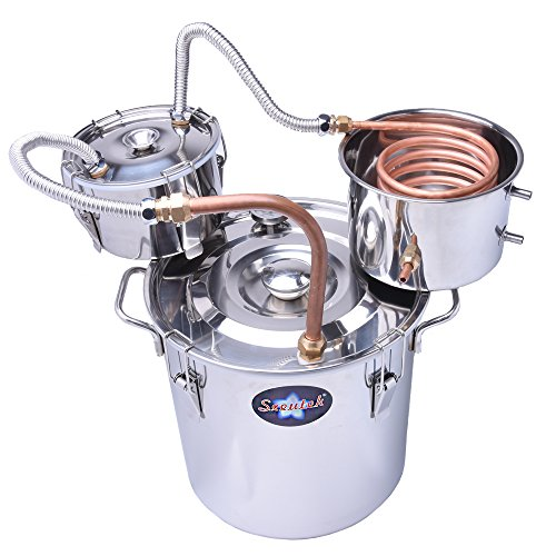 Suteck Moonshine Still Spirits Kit Water Alcohol Distiller Copper Tube Boiler Home Brewing Kit with Thumper Keg Stainless Steel