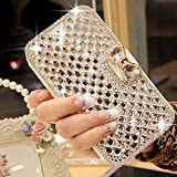 LAPOPNUT for Samsung Galaxy S7 Case Luxury Bling Jewelry Diamond PU Leather Flip Case Sparkly Crystal Rhinestone Case with Magnetic 3D Bowknot Buckle Card Slot Stand Wallet Cover Skin