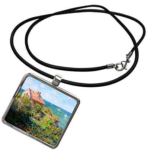 (3dRose VintageChest – Masterpieces - Claude Monet – Fishermans Cottage by Varengeville - Necklace with Rectangle Pendant)
