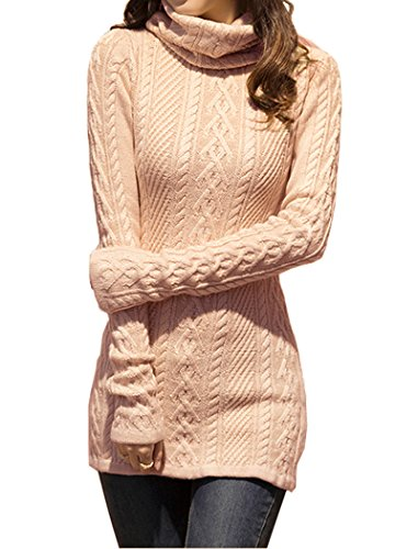 v28 Women Polo Neck Knit Stretchable Elasticity Long Slim Sweater 1822,Pink