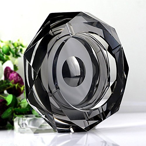 Crystal Cigar Box (Amlong Crystal Octagon Black Large Crystal Ashtray 6 Inch for Cigarettes or Cigars with Gift Box)