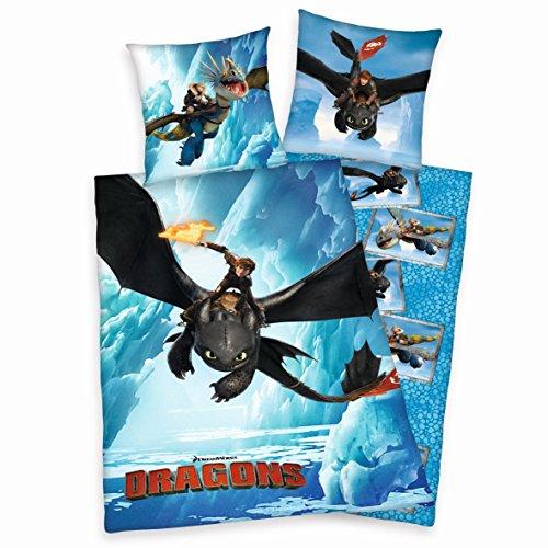 Bettwäsche Set Dragons Drachenzähmen leicht gemacht 135x200cm + 80x80cm Linon 442616050