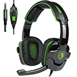 [2017 SADES Newest Version SA930 Multi-Platform Gaming Headset], Gaming Headsets Headphones for PlayStation 4 PS4 New Xbox One PC Laptop Computer (Black&Green)