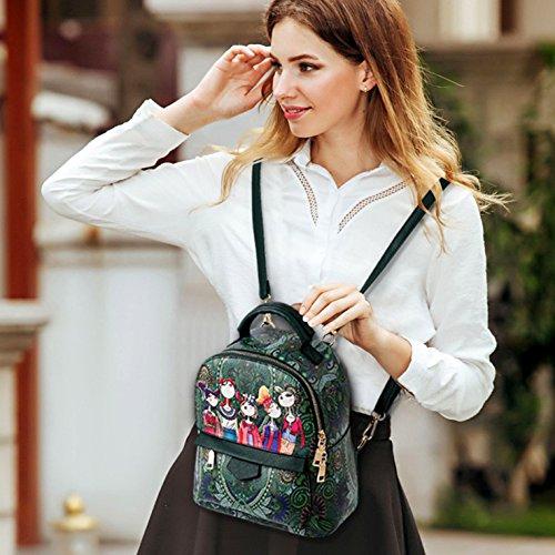 HeHe Mochila Cuero de la PU casual, mochila de viaje, mochila escolar para chicas Verde - grande