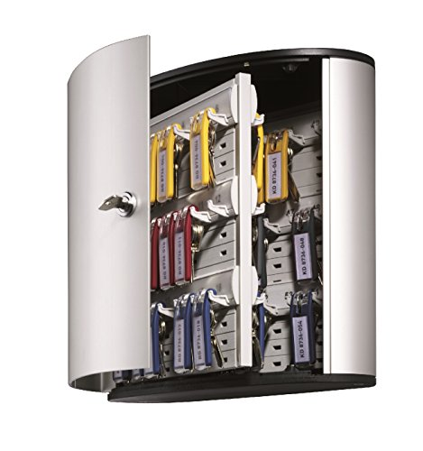 Durable Wall Mounted Secure Key Cabinet with Keyed Lock, Holds 54 Key Tags, 11-3/4 x 4-5/8 x 11 Inches, Brushed Aluminum (195323)