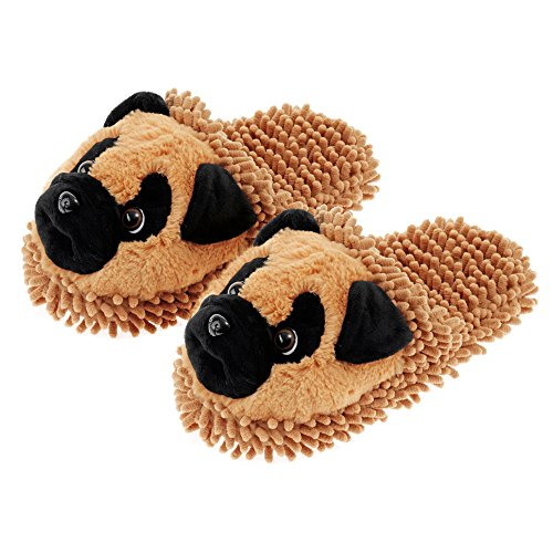 - Aroma Home Fuzzy Friends Slippers Tan Pug