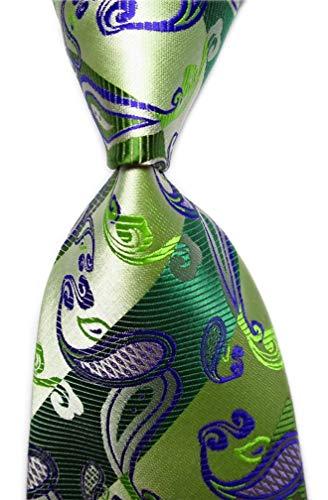 Secdtie Men's Striped Paisley Green Party Jacquard Woven Silk Tie Necktie C04