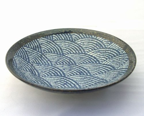 Japanese Porcelain 9.1'' SEIGAIHA(waves in blue ocean) Bowl for Pasta,Noodle or Salad Made in JAPAN by Mino Ware