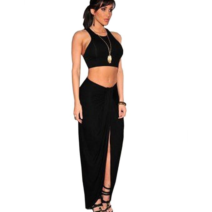 12a9e7b01 Mujer Conjuntos De Crop Top Y Falda 2 Piezas Verano Elegantes Sin Mangas  Tirantes Blusas Color Sólido Talle Alto Irregular Bodycon Faldas Largas  Vestidos De ...
