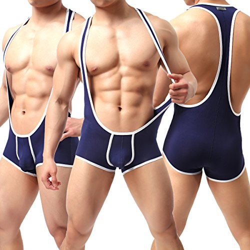 Yeke Men's Sexy Body Leotard Freestyle Wrestling Singlet Backless Modal Bodysuit (Dark Blue, L) by Yeke