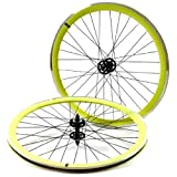 State Bicycle Fixed Gear/Fixie 700c Machined Track Wheels, Front Plus Rear, Neon Yellow/Black by State Bicycle Co.