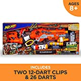 Scravenger Nerf Zombie Strike Toy Blaster with Two 12-Dart Clips, 26 Darts, Light, Barrel Extension, Scope, Stock, 2-Dart Blaster - For Kids, Teens, Adults