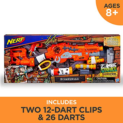 519VWqe4cGL - Scravenger Nerf Zombie Strike Toy Blaster with Two 12-Dart Clips, 26 Darts, Light, Barrel Extension, X 40Mm, Stock, 2-Dart Blaster - For Kids, Teens, Adults