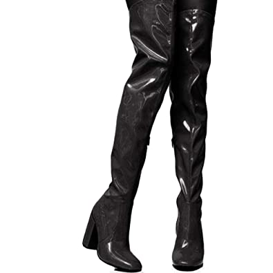 1c5917d65662 DoraTasia Women s PU Chunky High Heels Thigh High Sexy Boots Waterproof  Over The Knee Dress Knight Boots  Amazon.co.uk  Shoes   Bags