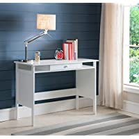Kings Brand Furniture Home & Office Parsons Wood Desk with Drawer, White