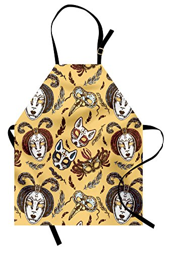 Lunarable Masquerade Apron, Venetian Style Paper Mache Face Mask With Feathers Dance Event Theme, Unisex Kitchen Bib Apron with Adjustable Neck for Cooking Baking Gardening, Mustard Brown White - Paper Mache Venetian Mask
