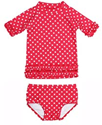 RuffleButts Infant / Toddler Girls Polka Dot Ruffled Rash Guard Bikini - Red - 18-24m