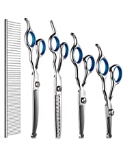DELOMO Pet Scissors for Dogs & Cats with Safety Round Tips, 5 in 1 Pet Grooming Scissors Set, Pet Cutting Scissors Kit with Thinning, Straight, Curved Shears and Comb for Long or Short Hair Pets, Blue