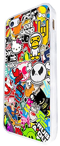 114 - Cool Funky Sticker Bomb Jdm Eat Sleep Design iphone SE - 2016 Coque Fashion Trend Case Coque Protection Cover plastique et métal - Blanc