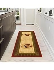 Ottomanson Siesta Collection Kitchen Rooster Design Machine Washable Non Slip Runner