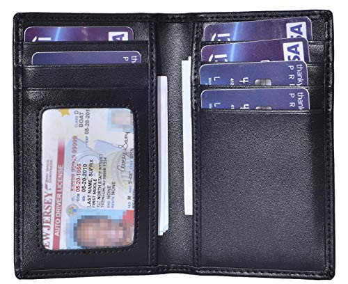 Slim Thin ID/Credit Card Holder Leather Bifold Front Pocket Wallet RFID Blocking (Black) ()