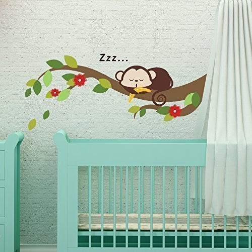 Walplus Sleeping Monkey and Tree Branch Removable Self-Adhesive Wall Stickers, Multi-Colour, 70 x 28 cm ()