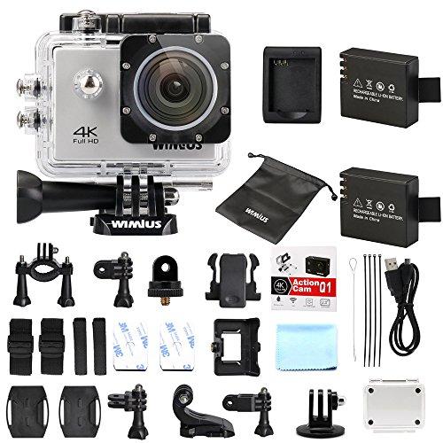 WiMiUS Actioncam 4k Action Cam HD Action Kamera Wifi Actionkamera 16MP Sport Kamera mit 2 Akkus 2.0 Zoll Wasserdichte Helmkamera 40M (Q1-Silber)