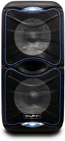 Dolphin SP-212RBT Transportable Bluetooth Get together Speaker with Lights and PA System with Expandable Battery