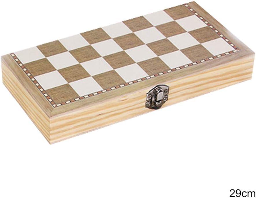 Gioco di Scacchi Portatile Pieghevole in Legno Gioco di Scacchi Backgammon 29 cm Festa di Famiglia Maxtapos