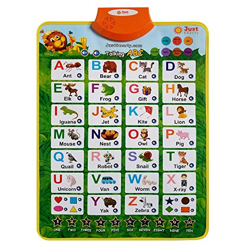 Just Smarty Alphabet Learning Toy for Boys and Girls 2 Years Old & Up. Educational Interactive Poster for Kids to Learn Letters, Numbers, Shapes, Colors, Spelling, with Games, Quizzes and Music