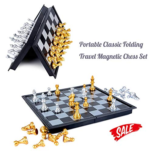 (HoveBeaty Chess Set Portable Classic Folding Travel Magnetic Chess Set Aluminum Plating, 9.7 x 9.7 x 0.8 inch)