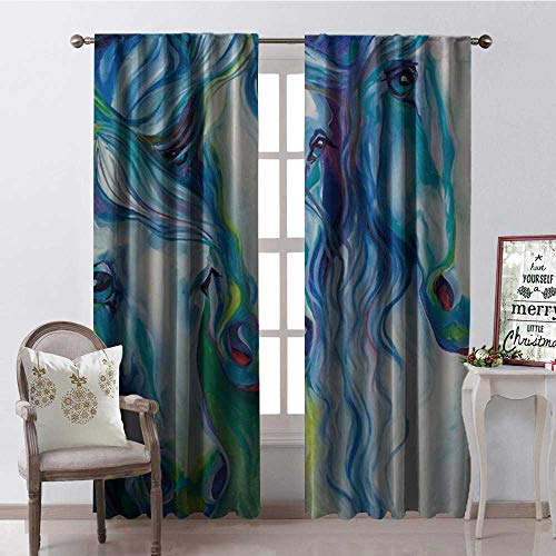 Hengshu Abstract Swift Horse Colored Draw g Room Darkening Wide Curtains Waterproof Window Curtain W96 x L84